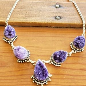 925 Silver amethyst druzy stunning necklace